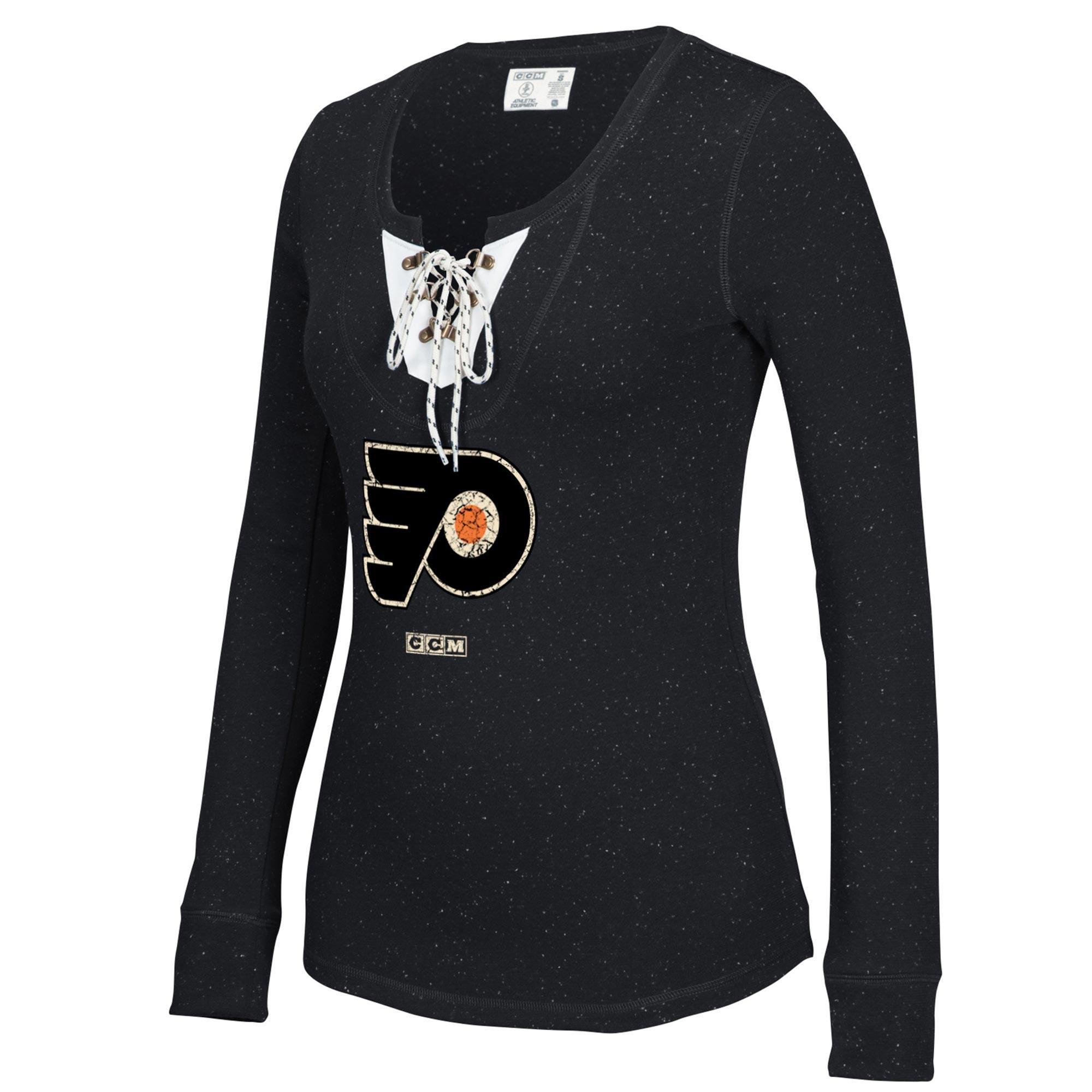 Philadelphia Flyers CCM Women's Lace-Up Henley T-Shirt - Black