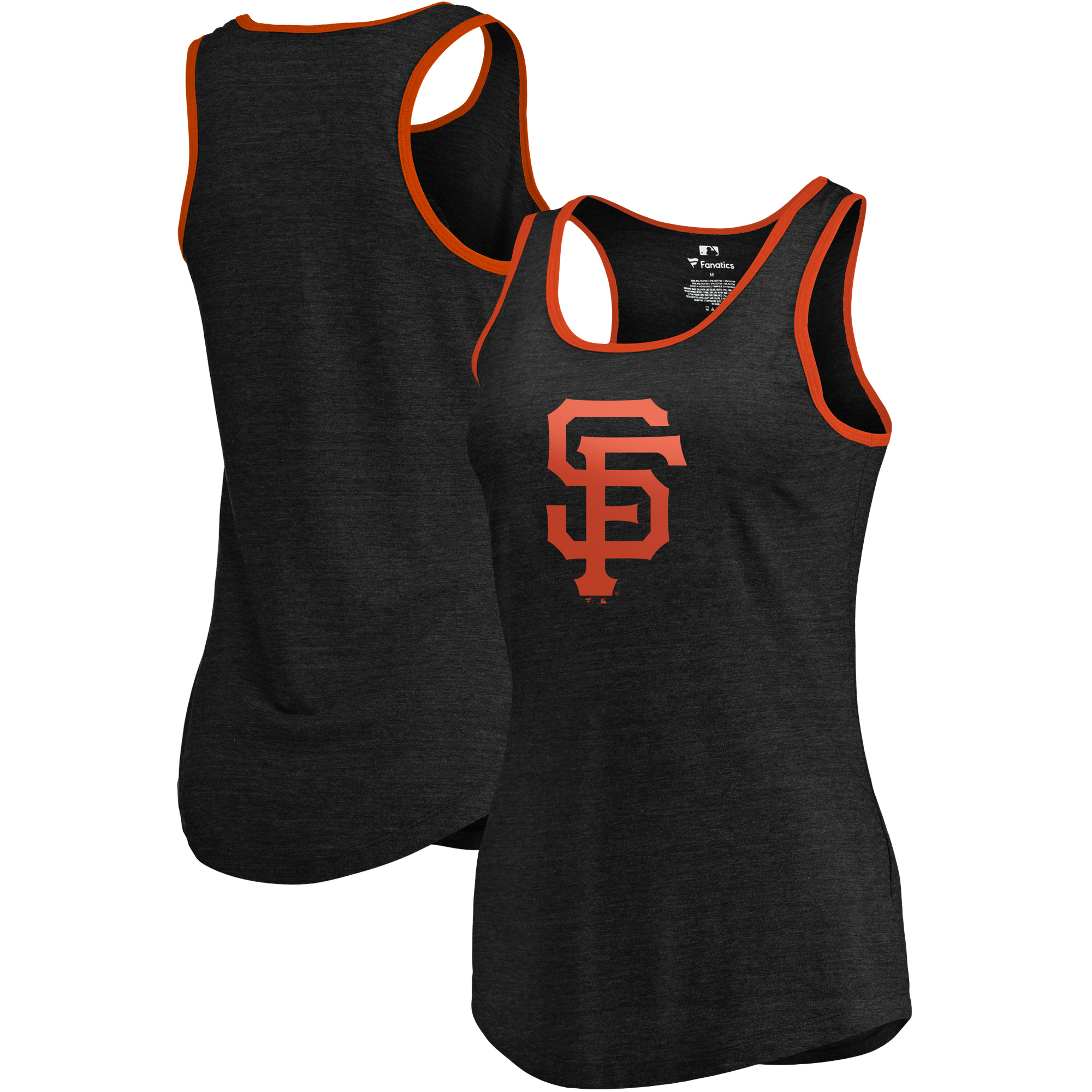 San Francisco Giants Fanatics Branded Women's Prime Ringer Tri-Blend Tank Top - Black/Orange