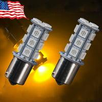 Tpfocus Amber Yellow 1156 BA15S 18SMD 5050 LED Light bulb Turn Signal Backup Reverse Light,A pair
