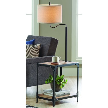 Better Homes and Garden 4 Foot 7 Inch End Table Floor Lamp with USB Port, Weathered and Black (Floor Lamp With Table)