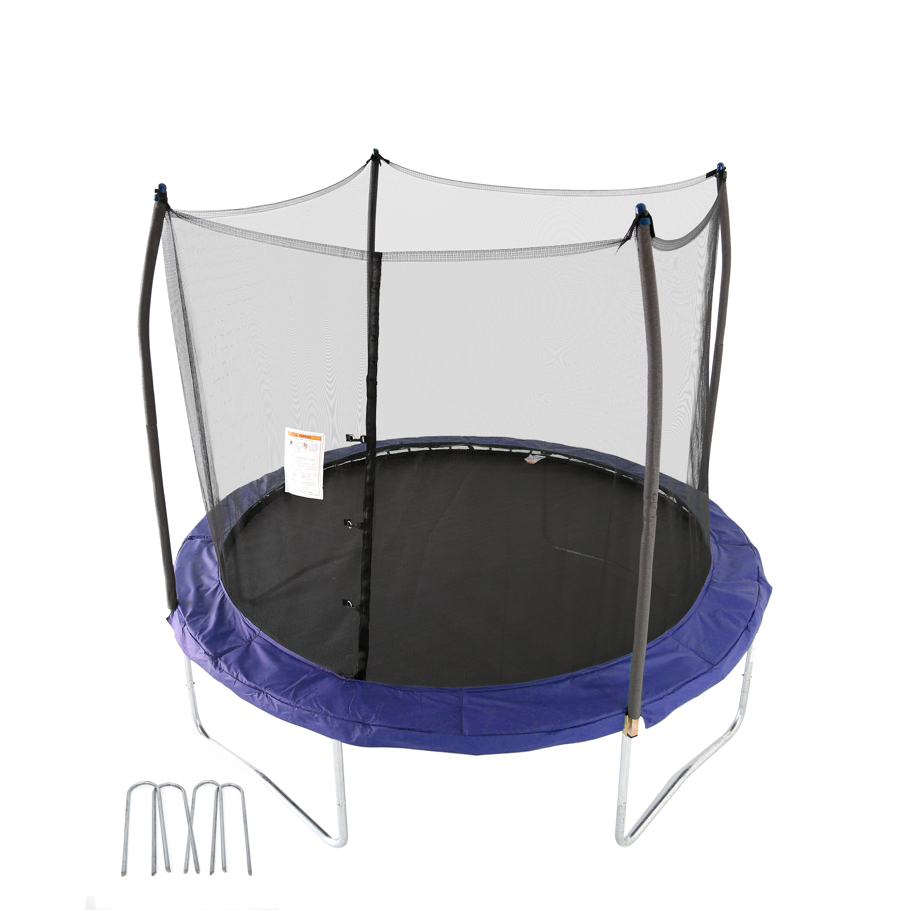 Skywalker Trampolines 10-Foot Trampoline, with Safety Enclosure and Wind Stakes, Blue