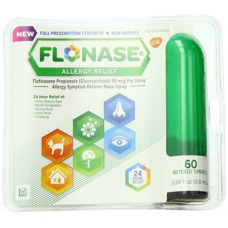 2 Pack Flonase Fluticasone Propionate Nasal Spray for Allergy Relief 60 Ct