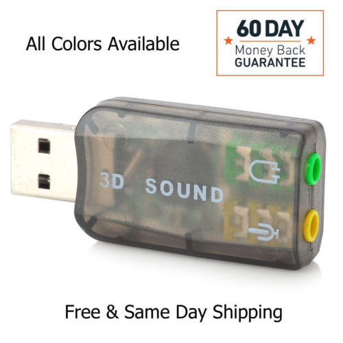 USB To 3.5mm Mic / Headphone Jack Stereo Headset Audio 3D Adapter 5.1 Sound Card