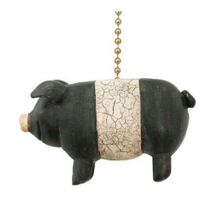 Black Chain Pull - Black and White Potbelly Primitive Folk Pig Ceiling Fan Pull or Light Pull Chain