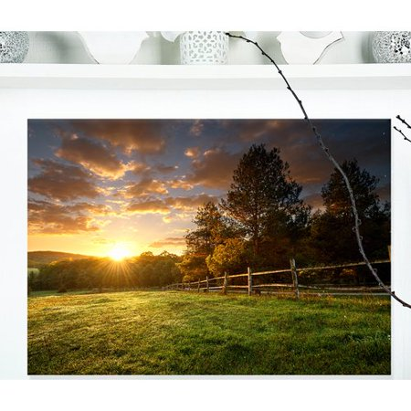 Design Art 'Fenced Ranch at Sunrise' Photographic Print on Wrapped Canvas