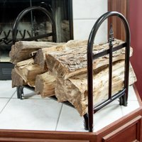 Fireplace Log Rack with Finial Design - Black by Pure Garden