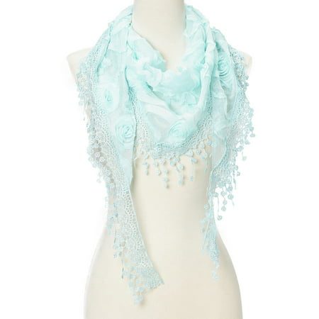 Lightweight Triangle Floral Fashion Lace Fringe Scarf Wrap for Women