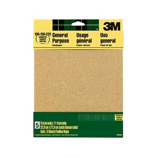 3M COMPANY 9005 5PK Assorted Aluminum Oxide Sandpaper by 3M COMPANY