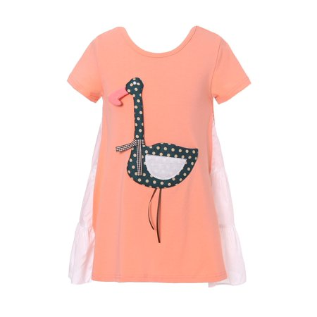 Patch Yellow T-shirt - Richie House Girls' Sweet T-shirt with Swan Applique RH2281