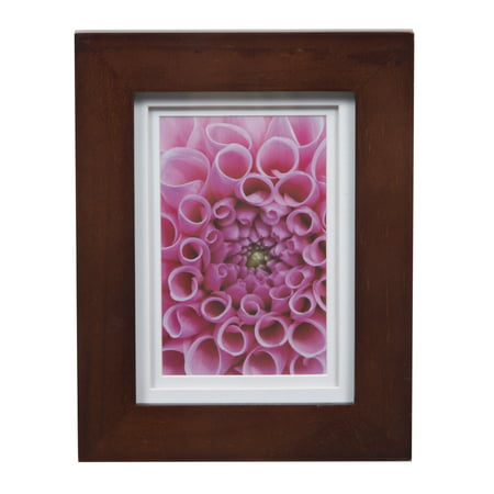 Gallery Solutions 5x7 Wide Walnut Frame with Double Mat For 4x6 Image