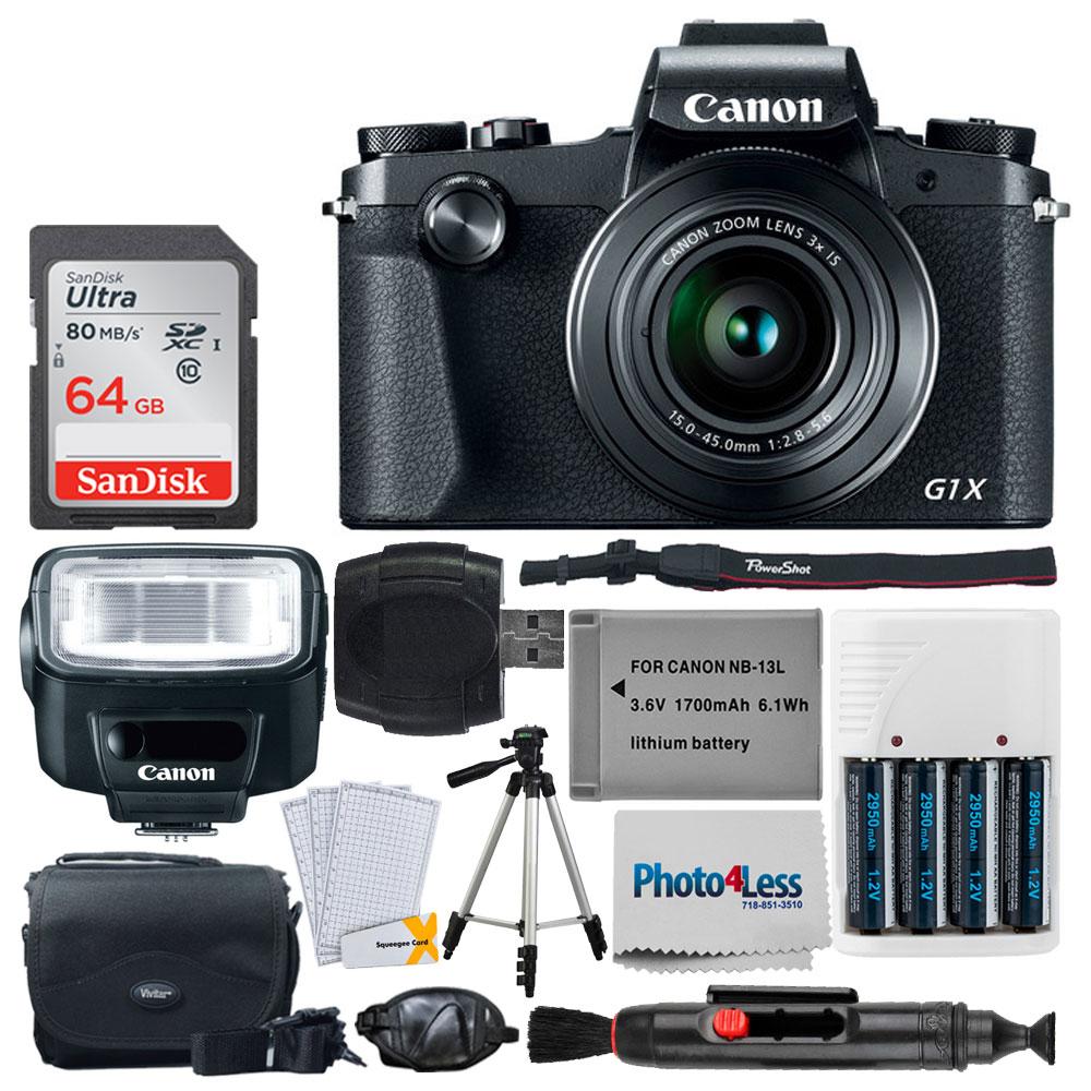 Canon PowerShot G1 X Mark III Digital Camera Wi-Fi Enabled + Canon Speedlite 270EX II + 64GB Memory Card +... by Canon