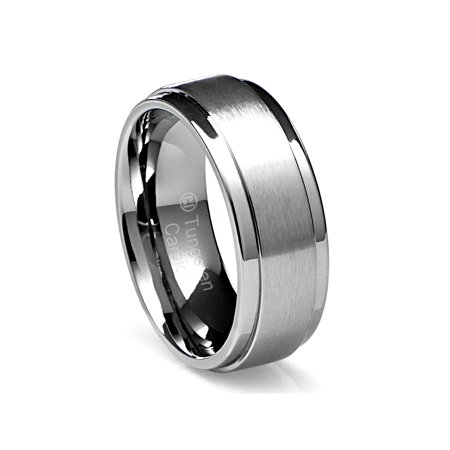 Mens Wedding Band in Tungsten Carbide 8MM Ring Flat Brushed Top and Polished Finish (Mens Flat Top)