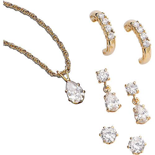 14.46 Carat T.G.W. CZ 14kt Gold-Plated Pendant with 3 Pairs of Clip Earrings Set