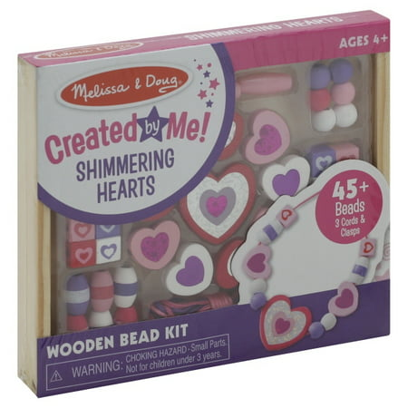 Melissa & Doug Shimmering Hearts Wooden Bead Set: 45 Beads and 3 Laces for Jewelry-Making Heart Necklace Craft Kit