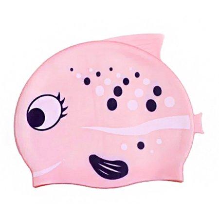 Simplicity Kids Boys Girls Cute Cartoon Silicone Swimming Cap, Pink