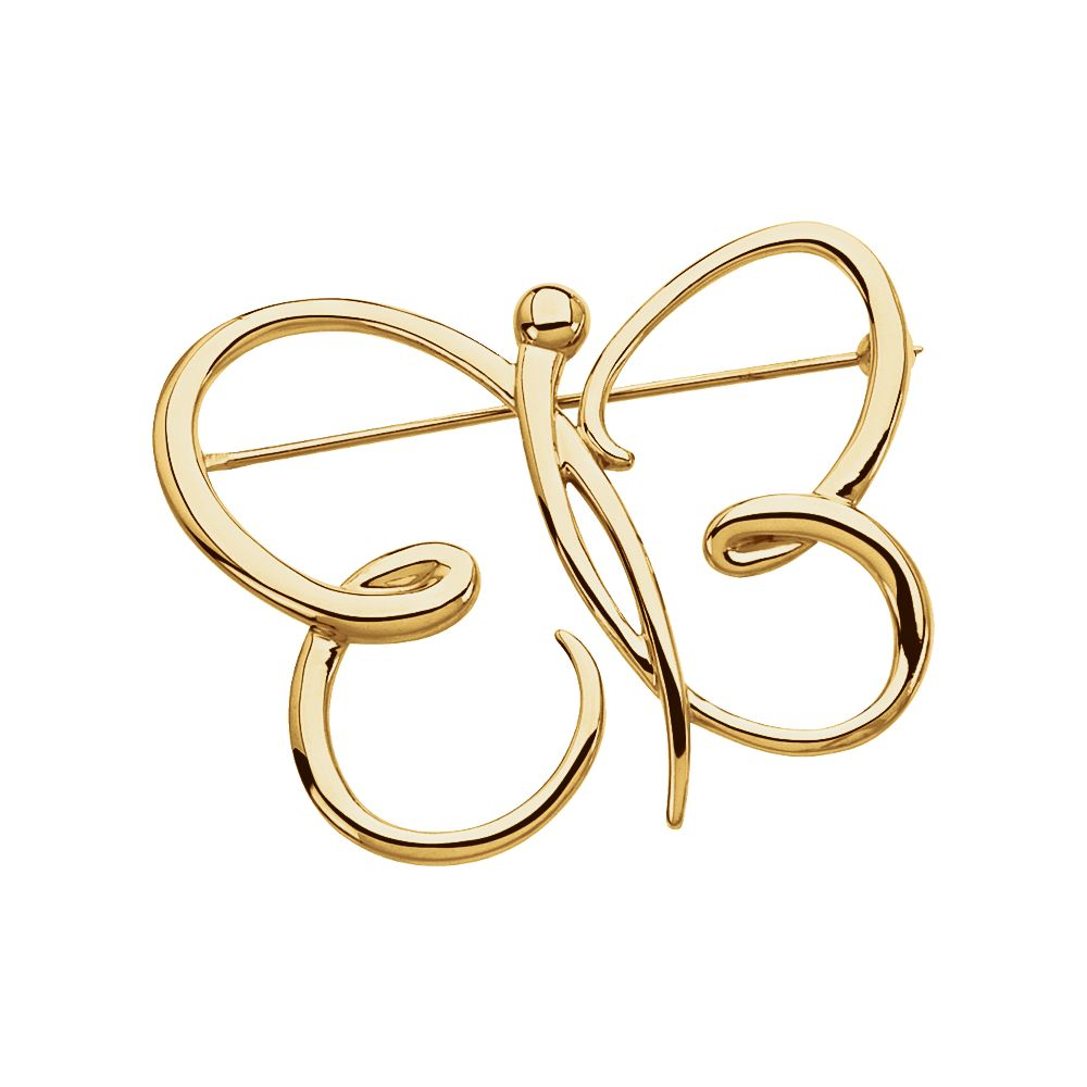 18k Yellow Gold Butterfly Brooch by