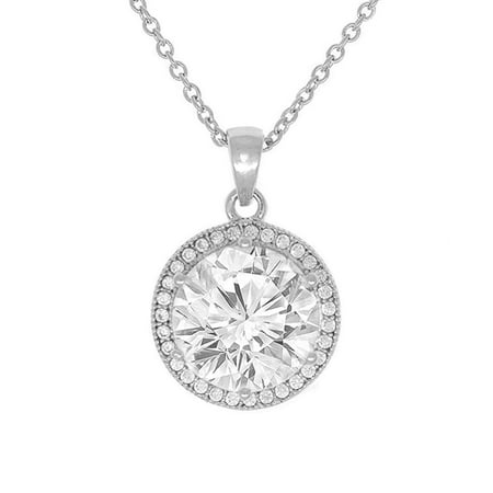 White Gold Round Locket - Cate & Chloe Mariah 18k White Gold Plated Round Cut CZ Halo Pendant Necklace - Cubic Zirconia Halo Cluster Silver Necklace w/Solitaire Round Cut Crystal - Wedding Anniversary Jewelry - MSRP - $150