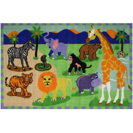 Nittany Lions Rug - Fun Rugs Fun Time Area Rugs - FT-18 Childrens Kids Multi-Color Zebra Giraffe Lion Safari Rug