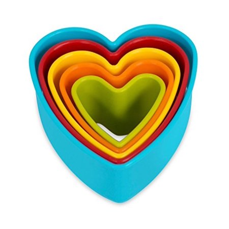 Internets Best Heart Cookie Cutter | Set of 5 | Heart Shaped Biscuit Sandwich Fondant Cutter Set | Multi Size and Color |