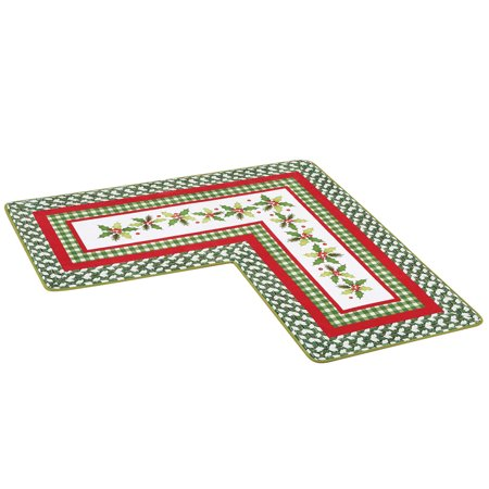 L Shaped Holiday Corner Accent Rug - Basketweave and Fabric Print with Holly and Berries