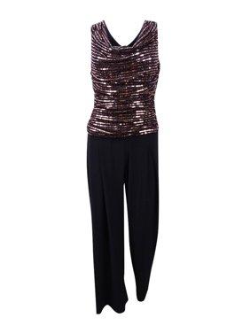 R&M Richards Women's Sequined Metallic Knit Jumpsuit (10P, Black/Rose Gold)