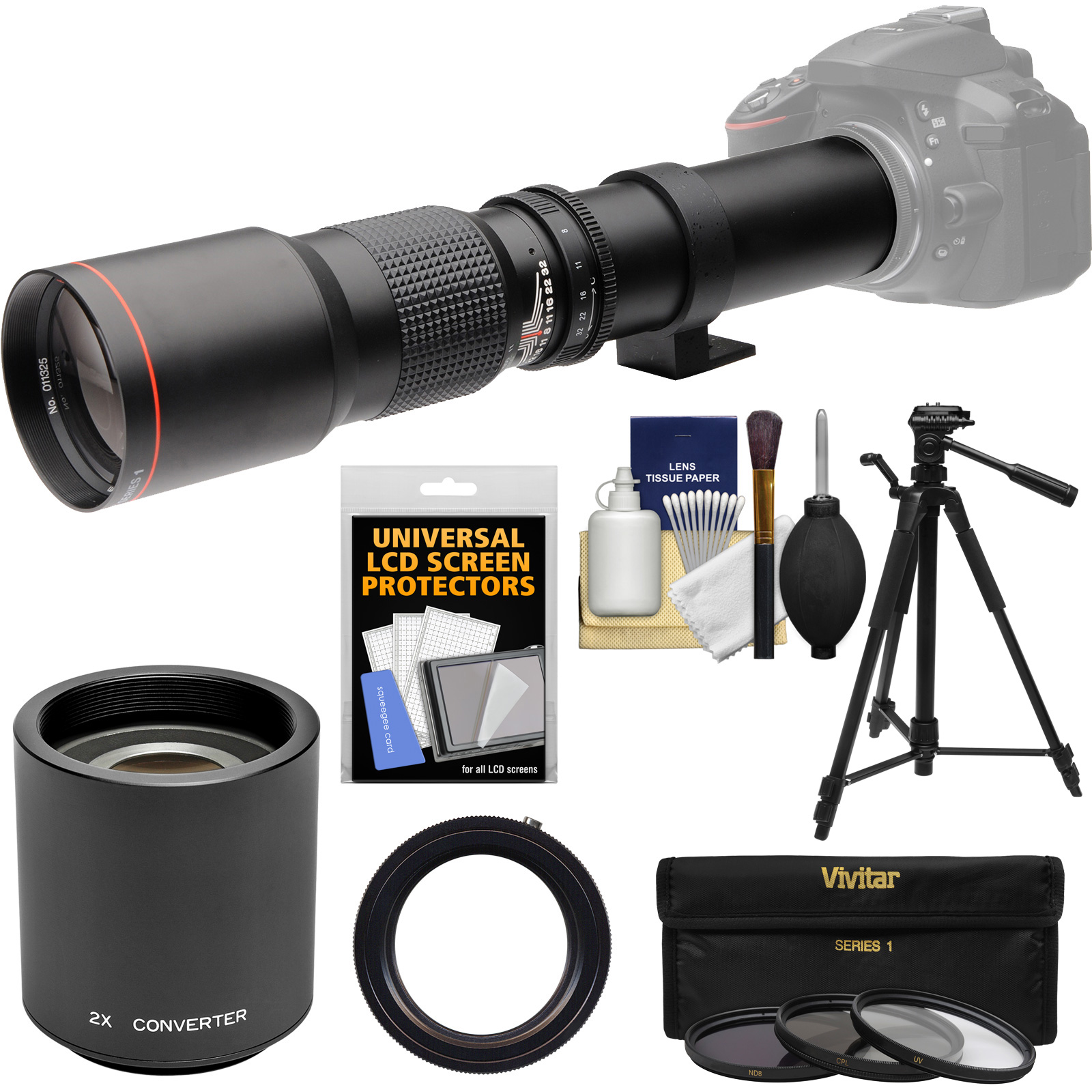 Vivitar 500mm f/8.0 Telephoto Lens with 2x Teleconverter (=1000mm) + Tripod + 3 Filters Kit for Nikon D3200, D3300, D5300, D5500, D7100, D7200 Camera