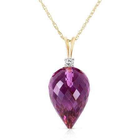 Briolette Drop Necklace (ALARRI 9.55 Carat 14K Solid Gold Necklace Diamond Briolette Drop Amethyst with 18 Inch Chain)