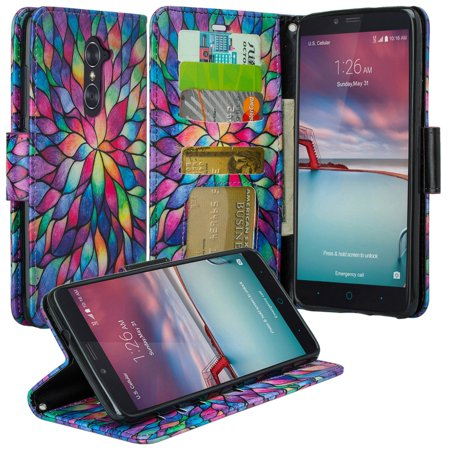 ZTE Max XL Case, ZTE Blade Max 3 Case, ZTE Zmax Pro 2 Case, Pu Leather Magnetic Fold[Kickstand] Wallet Case Cover with ID & Card Slots - Rainbow