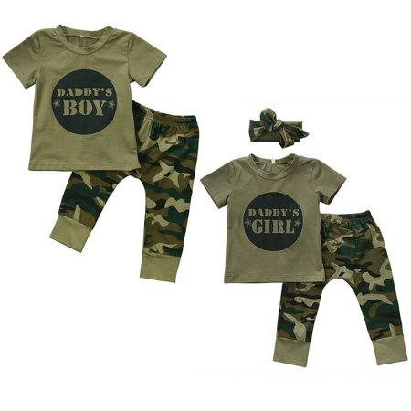 Newborn Baby Boy Girl's Camo T-shirt Top + Long Pants Outfits Clothes Sets ()