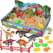 Dinosaur Toy Set with Play Sand,Sand Box with Dinosaur Figure,Modeling Clay Sand,Dinosaur Molds, Magic Sand and Accessories F-349