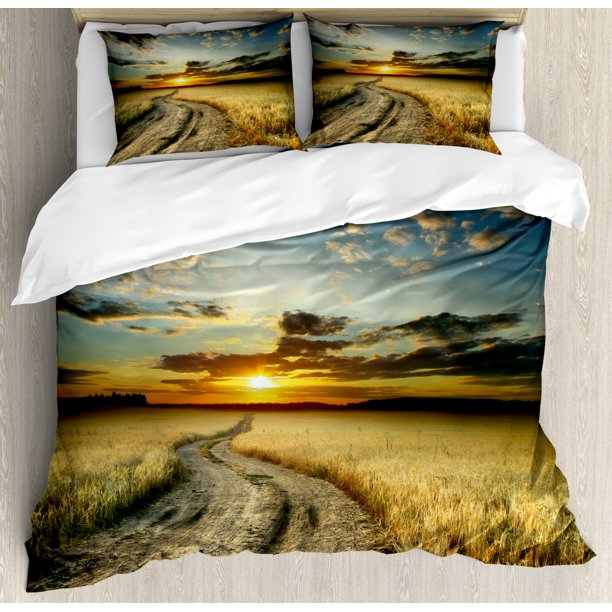 Nature Duvet Cover Set Road In The Field With Ripe Yellow Wheat Garden Under Cloudy Sunset Sky Landscape Decorative Bedding Set With Pillow Shams Multicolor By Ambesonne Walmart Com Walmart Com