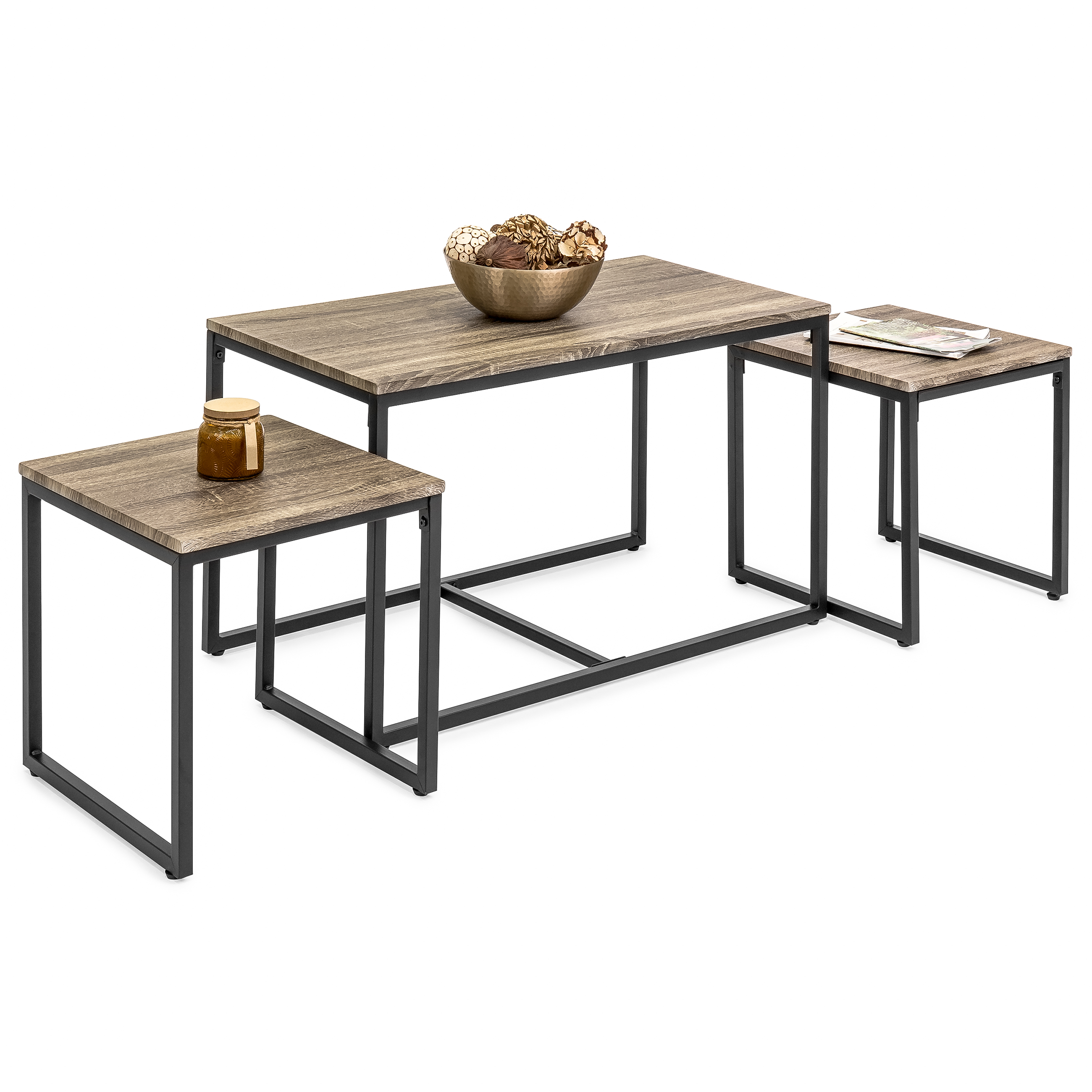 Best Choice Products 3 Piece Modern Nesting Coffee Accent Table Living Room Furniture Lounge Set W 2 End Tables Brown Walmart Com Walmart Com