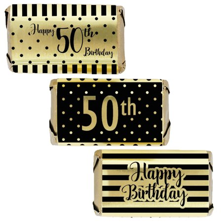 Gold Foil 50th Birthday Candy Wrappers, 45ct - Black and Gold Stripe and Polka Dot Birthday Party Supplies - 45 Stickers 50th Anniversary Candy Wrappers