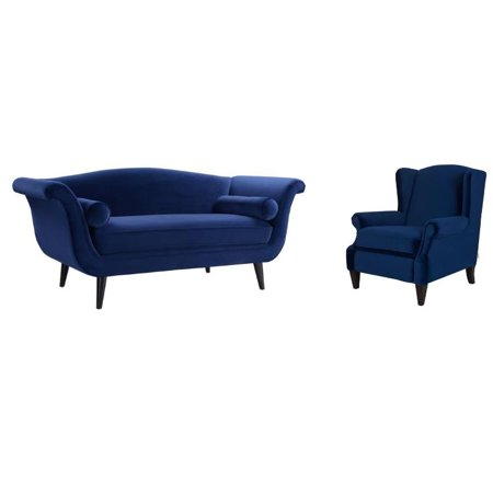 Magnificent 2 Piece Set With Settee And Wing Back Accent Arm Chair In Navy Blue Caraccident5 Cool Chair Designs And Ideas Caraccident5Info