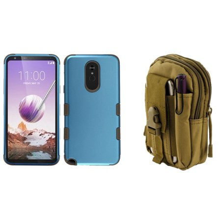 Cobalt Pouch (TUFF Hybrid Series Compatible with LG Stylo 5 Case Military Grade Certified Rubberized Cover (Cobalt/Mocha) with Tactical Travel Pouch (Khaki))