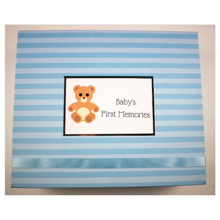 Teddy Bear Baby Keepsake Box Teddy Bear Keepsake BoxOur new Teddy Bear Keepsake Box is great for the new nursery in your house! Vividcolored luxury paper with a new ribbon enclosure are just some of the new features that this box offers. This box is the place to put all babies first things  First shoes, outfit, pictures etc. They all fit in this box! Designed to make keeping these special memories easy for moms.Complete the look with the matching scrapbook!Other new features:4x6 Standard PhotoSilver LiningRibbon EnclosureLarger Room for Personalization