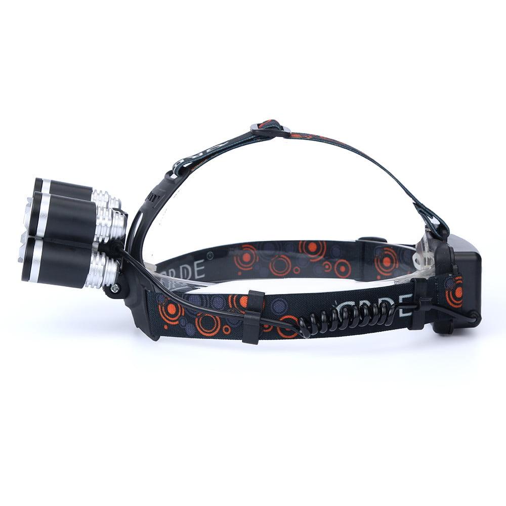 35000LM 3-Head XM-L T6 LED Headlamp Headlight Torch Light Battery+Charger
