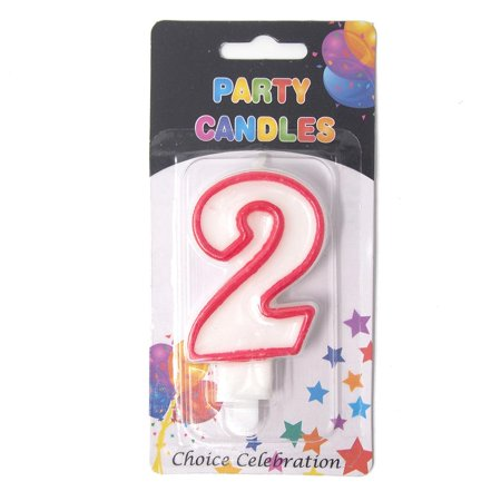 Number 2 Birthday Candle, White/Red, 2-1/2-Inch - Number 2 Candle