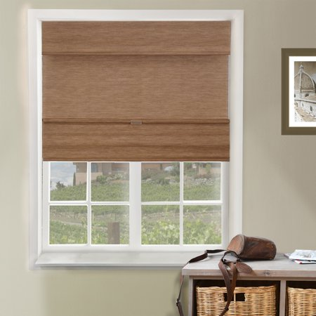 Chicology Cordless Magnetic Roman Shades, Privacy Fabric Window Blind-Jamaican Truffle, 27