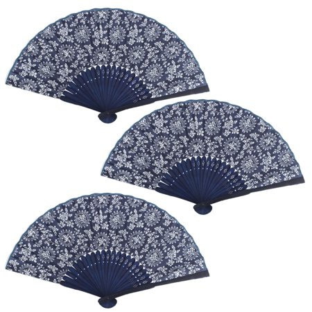- Home Bamboo Frame Flower Pattern Collections Oriental Craft Folding Fan 3 PCS
