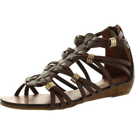 Roman Sandals (Link REBEL-15K Girls Kids Bow Knot Leatherette Strappy Gladiator Roman Wedge Dress)