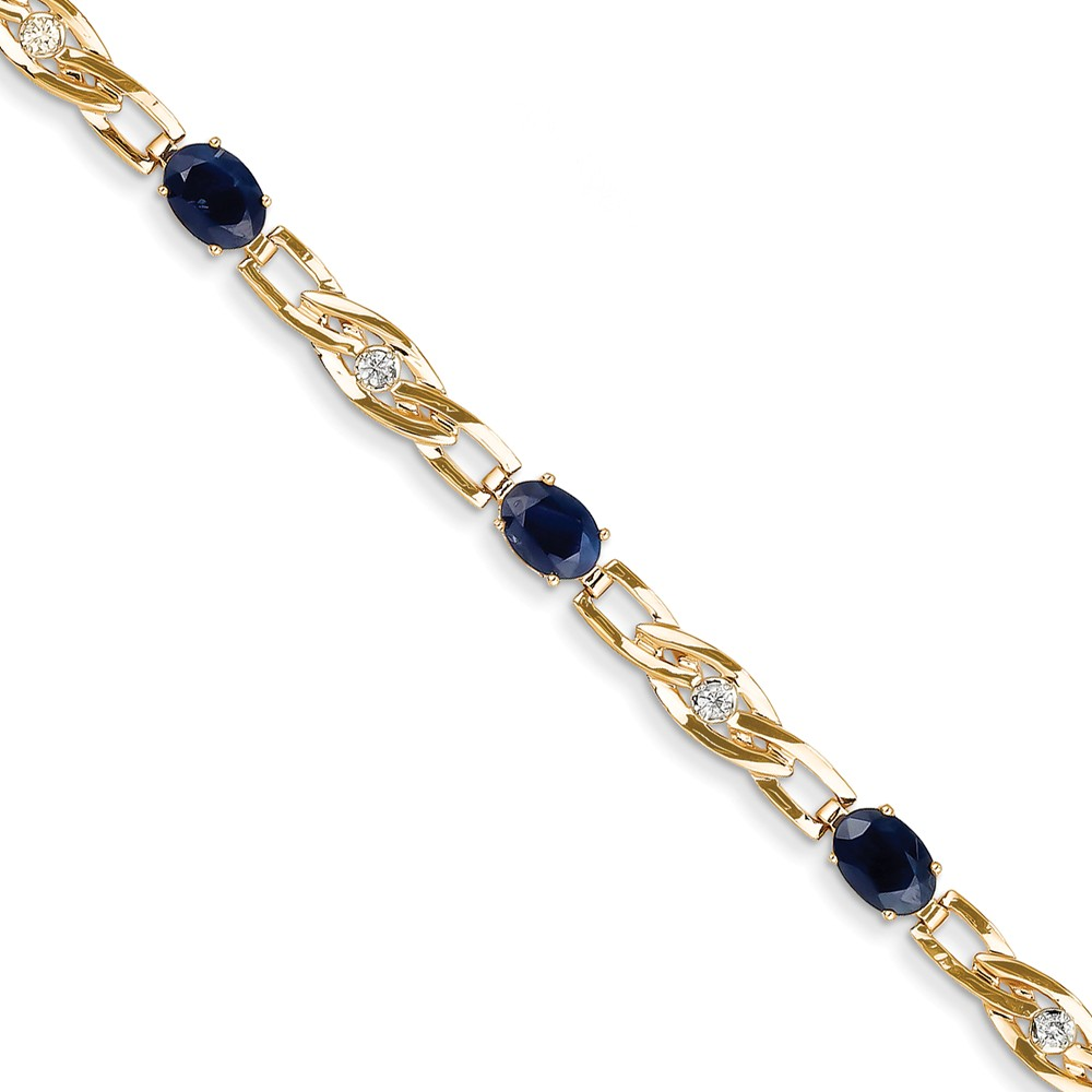 14k Yellow Gold Diamond and Sapphire Tennis Bracelet 7.62Cttw by Diamond2Deal