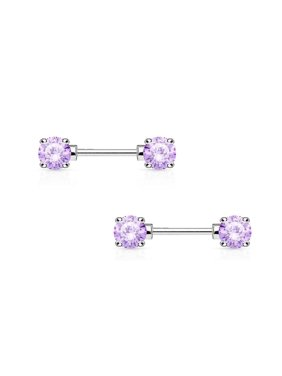 """Nipple Bars  14G 1/2"""" Surgical Steel With Round Prong Set CZ Gems Pair"""