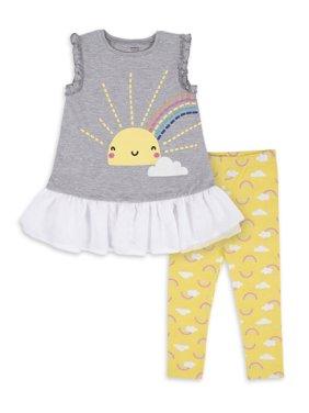 Gerber Toddler Girls Ruffled Tunic & Leggings, 2-Piece Outfit Set