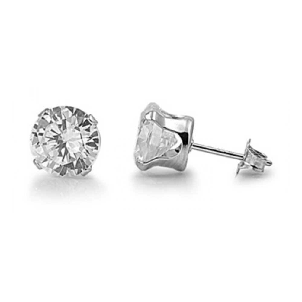925 Sterling Silver 12MM Round Cubic Zirconia Stud Earrings (Clear Cubic Zirconia)