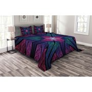 Fractal Bedspread Set, Psychedelic Colorful Sacred Symmetrical Stained Glass Figure Vibrant Artsy Design, Decorative Quilted Coverlet Set with Pillow Shams Included, Plum Indigo, by Ambesonne