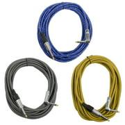 "Seismic Audio 18' (3 PK) 1/4"" to 1/4"" Right Angle Guitar Cables Woven Cloth Silver Blue Copper - SAGCRVAR-18-3PK"