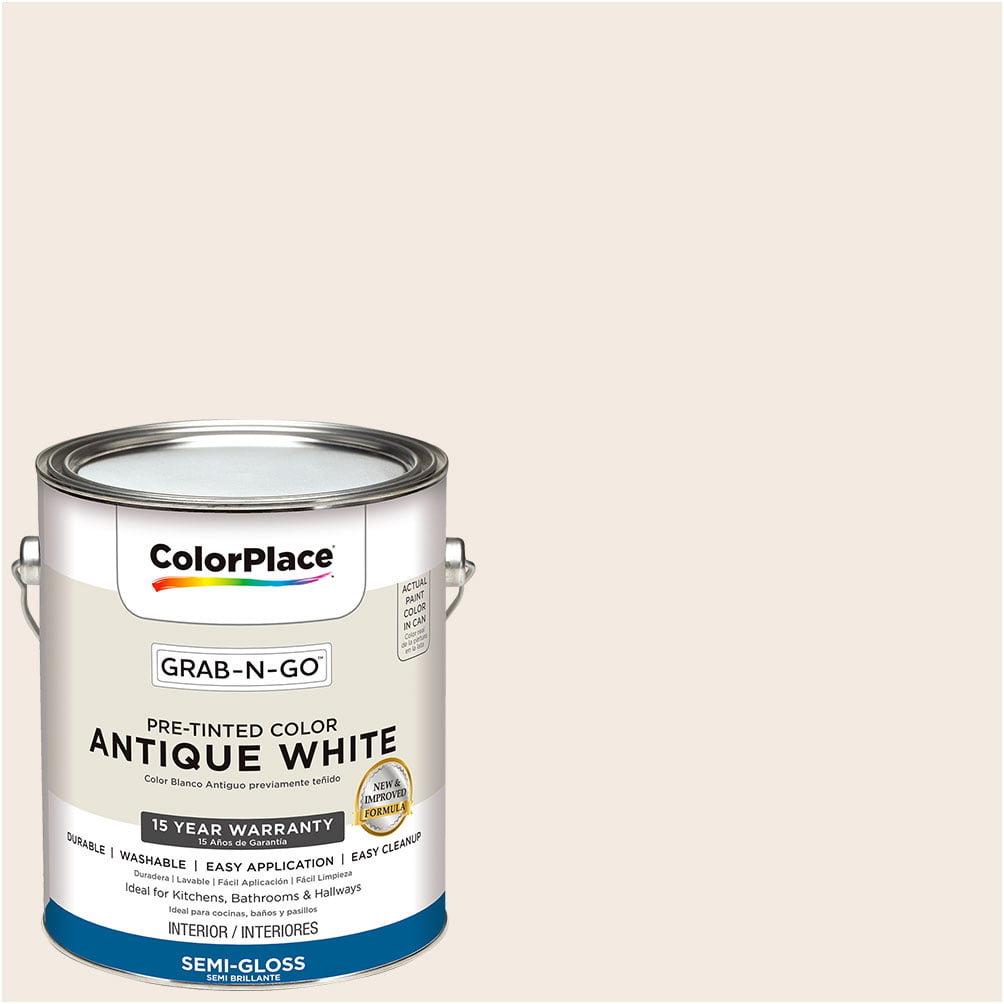 ColorPlace Pre Mixed Ready To Use, Interior Paint, Antique White, Semi-Gloss, 1 Gallon by Generic