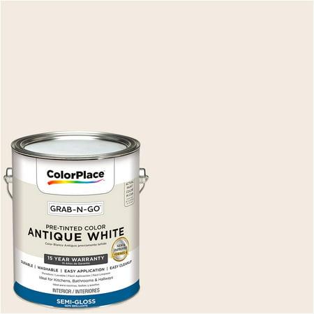 ColorPlace Pre Mixed Ready To Use, Interior Paint, Antique White, Semi-Gloss, 1 Gallon Antique Iron Semi Flush