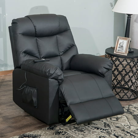 Power Lift Recliners for elderly, PU Leather Lift Chairs Recliners with Remote Control, Heavy Duty Sofa Lounge Chair, Safety Motion Reclining Mechanism Living Room Furniture, I8422 ()
